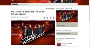 """Das Logo von """"The Voice of Switzerland"""" auf der Seite des SRF."""